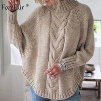 Женские свитера Forefair Turtleeneck вязание свитер осень сплошной с длинным рукавом женский джемпер трос трикотаж негабаритный теплый зима