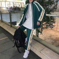Men's Tracksuits M-5XL!Autumn Luminous Reflective One Set Of Clothes Pants Two-piece Suit Color Matching Zipper Cardigan Sweatpants Sweatpa