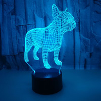 Toque no controle remoto Lâmpada de visão colorida 3d luzes de noite francês Bulldog 3D pequena mesa de mesa de natal