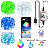 5 M 10 M 20 M USB Peri Dize Işıkları Müzik Sync Renk RGB LED Şerit Bluetooth Uygulama Kontrol Bakır Tel Dizeleri