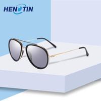 HENOTIN Hommes Femmes rondes Vintage Lunettes de soleil polarisées Full Metal Rim Double pont Shades avec lentilles Charnière à ressort polarisants