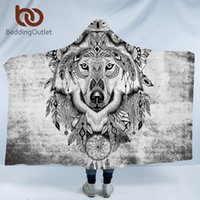 BeddingOutlet Lobo capucha Manta tribales Animal Dreamcatcher Sherpa manta usable adultos Throw geométrico colorido
