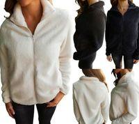 Winter Coats Fashion Faux Wool Thickened Fluffy Warm Coat Casual Zipper Fly Coats Women Clothing Plus Size Womens