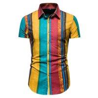 Erkek Casual Gömlek 2021 Yaka Gömlek Pamuk ve Keten Kısa Kollu İnce Şık Çizgili Malzeme