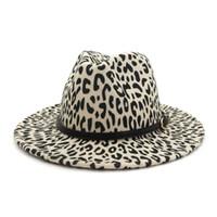Otoño Invierno leopardo plana de ala del sombrero de Fedora de las lanas de las mujeres de los hombres de la correa de metal caída del vintage sombreros de mujer sombreros sombrero de la iglesia
