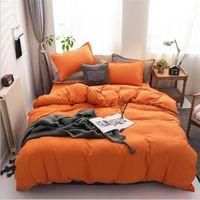 2021 Moderne oranje beddengoed sets 3 stks bed pak dekbedovertrek kussensloop ontwerper thuis beddengoed levert op voorraad