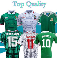 Retro Clássico México 1986 1994 1998 Jerseys de futebol Hernandez Campos Blanco H.Sanchez 86 94 98 Home Away Retro Camisa de Futebol S-2XL