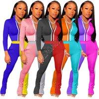 Kadınlar Tasarımcılar Renk Kontrast Eşofman Patchwork Ceketler Uzun kollu Crop Top Coat Yansıtıcı Çizgili Pantolon İki adet Kıyafetler D9107 Zip