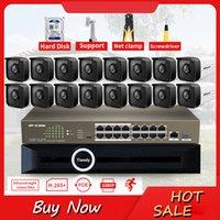 Sistemas LSVision H.265 16CH 2MP HD Poe PoE NVR KITS Câmeras IP ao ar livre CCTV Sistema de vigilância P2P Set 4TB HDD
