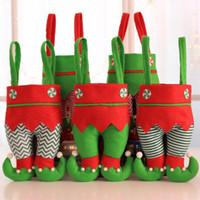 Эльф штаны чулки рождественских украшения украшение Xmas ткань конфета мешок Фестиваль партия аксессуары Лучшие подарки 6 цветов GWB1844