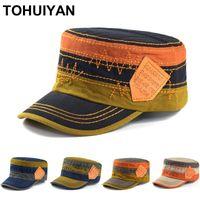 Широкие Breim Hats Tohuiyan Classic Mens Плоская верхняя крышка CADET Bush Hat 100% промывают хлопковые армии для женщин падение летом