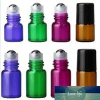 رخيصة سعر الجملة! مزيج 4 ألوان 1ML 2ML زجاج SS الكرة لفة على زجاجات للعطور كريم العين من الضروري النفط الشفاه البسيطة اللمعان زجاجة