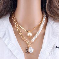 Perlenketten für Frauen Geometrische Anhänger Vintage Barock Perle Kette Halskette Portrait Münze Charme Aussage Halskette 2 teile / satz Schmuck