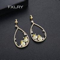 Pendientes de lujo de la vendimia FXLRY Blanco / Oro micro mosaico geométrico circón cúbico oval largo Agua para mujeres novia citas