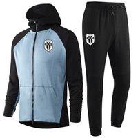 2020 2021 Angers SCO yetişkin Futbol Eğitim Tracksuits kitleri Kapşonlu futbol Eğitim Suit Survetement Maillots De Ayak Erkekler eşofman ayarlar