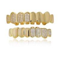 Новый дизайн Hip Hop Grillz Iced Циркон Fang рот зубов Caps Top Bottom Зуб Set Мужчины Женщина мода зубы ювелирные изделия