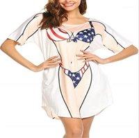 Beiläufiger Sommer Relaxed T-Shirt-Kleid-Frauen-Bikini-Rauch-Kleid Sexy Druck-Kurzschluss-Hülsen-Rundhalsausschnitt Kleider