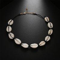 Boho Shells Seil-Ketten-Halskette natürliche Seashell-Hals Einfaches Schlüsselbein Kragen Mode Schmuck Sommer-Strand-elegante Accessoires