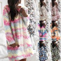 Warm teñido Tie-2020 de invierno de las señoras de Sherpa Fleece con capucha de felpa vestidos de leopardo camuflaje manera de la falda Pijamas de maternidad Tops D91401