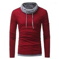 Bahar Uzun Kollu Casual Erkek Tees İnce Genç Erkek Katı Renk Tasarımcı Erkek tişörtleri Sonbahar Tops