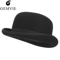 GEMVIE 4 Sizes 100% Wool Felt Black Bowler Hat For Men Women Satin Lined Fashion Party Formal Fedora Costume Magician Cap