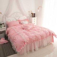 Conjuntos de cama Pure Algodão Lace Set Rosa Tampa de Duveta Cama Beding Borlas Luxo Princesa Saia Twin Queen King Rotejos