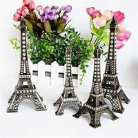 Decorative Objects & Figurines 13/18cm Vintage Metal Crafts Diamond Bronze Eiffel Tower Model Christmas Decoration For Home Building Collect