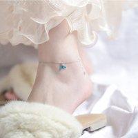 Anklets Mode 925 Sterling Silber Feine Frauen Schmuck Blauer Fisch Schwanz Fußkettchen Armband Meerjungfrau Knöchelkette Frau Geschenk Geburtstag