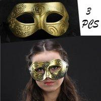 Halloween Adult Abschlussball-Partei-Maske Männer Retro-Jazz altes Rom Flat Head geschnitzte Maske Maske