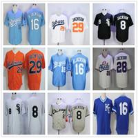 Bo Jackson White Vintage KC Royals Jersey College Baseball 남성용 29 오렌지 스티치 멤피스 병아리 KC University 16 Blue 8 Black Bo Jackson