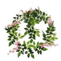 Artificial Wisteria Cordas de suspensão da flor Flores Vine Garland Arco do casamento decoração falsificação plantas de folhagem Rattan Ivy decoração da parede