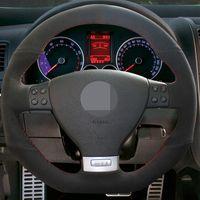 مخيط باليد DIY الأسود الجلد المدبوغ التوجيهية جلد السيارات تغطية عجلة القيادة لفولكس واجن جولف GTI 5 MK5 فولكس فاجن جولف 5 R32 باسات R GT اكسسوارات السيارات 2005