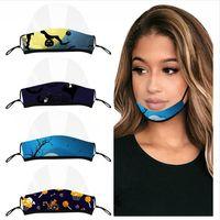 Halloween Deaf maschera trasparente maschere di stampa del cotone lavabile Lip lingua viso Protezione Earloop regolabile Cancella Bocca copertina LJJP487