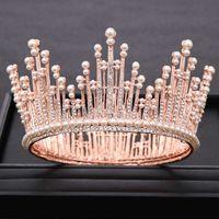 AiliBride Strass Perle Rose Gold runde große Krone für Hochzeit Tiara Catwalk Dress Braut Kopfschmuck Haarschmuck Zubehör