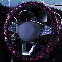4 цвета автомобиль рулевого колеса Крышка рулевого колесо автомобиля крышка Блестящая Снежинка аксессуары Универсальный диаметр 38см