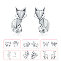 BISAER High Quality 925 Sterling Silver Folding Silver White CZ Stud Earrings Jewelry Making Gifts for Lover&Mother GXE526