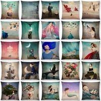 Nuova signora elegante bella ragazza Shakespeare Fantasy dipinto Luna Notte Swan sogno Alberi Cuscino Divano tiro cuscino Caso
