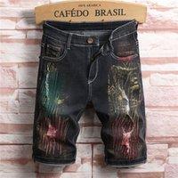 Pantaloni Moda Slim estate knee-lunghezza Elastica Jeans Hole Maschio Jean Mens 2020 di lusso della corte