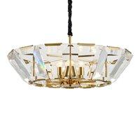 Elegante grandi luci pendente di cristallo di lusso Hanging Oro apparecchi di illuminazione di cristallo del tamburo Ombra Soggiorno Lamp Restaurant