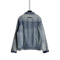 20ss Sonbahar Erkekler Denim Ceket Yeni Retro Tasarımcı Denim Ceket Ağır Sanayi Yıkanmış Ve Yıpranmış Yüksek Sokak Tarzı Altın Metal Toka Ceketler