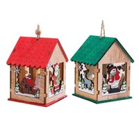 Navidad encendido LED Casa de Madera Tabla decoración colgante Paredes árbol de Navidad Colgante Para Ventanas