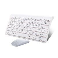 Mini tastiera mouse senza fili per il computer portatile desktop computer Mac Home Office ergonomico Gaming Keyboard mouse Combo Multimedia Bianco