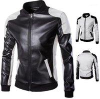 Tamanho painéis gola Zipper Fly Outwear Mens Fashion Motorcycle Jacket Mens Designer Leather Jackets Além disso,
