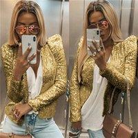 Kol Standı Yaka Blazers Coats Sonbahar Kış Moda İnce Kadın Kabanlar Giyim Pullarda Hırka Blazers Kadın Bing Uzun