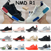 유럽 독점 희게 푸른 빛 코어 블랙 무성한 도쿄 트리플 검정, 흰색 망 운동화 메쉬 빨간색 신발을 실행하는 NMD R1 러너 남성 여성