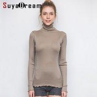 SuyaDream Mujeres sólido del cuello alto con capucha 80% seda 20% algodón adelgazan la costilla suéteres de otoño invierno que basa el desgaste de punto 200919