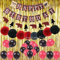 La fiesta de cumpleaños decoraciones de adulto Muchacho Photobooth Telón de fondo de la hoja del partido del leñador Cortina tema del oro decoración de la pared Suministros