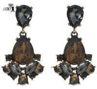 Yayi Jewelry New Brown Vetro Grey Grey Strass Droinsone Crystal Orecchino da donna Moda donna Antica Gold Gold Color Gem Orecchini 1165
