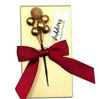 caixas do favor do casamento caixa de doces Golden Flower Bead partido DIY favorece atacado brindes aniversário suprimentos para hóspedes