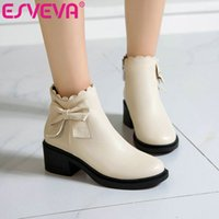 ESVEVA 2021 Place Med Heel PU cuir Bottines femmes Bottes Chaussures plateforme bout rond Casual Taille Zipper 34-43
